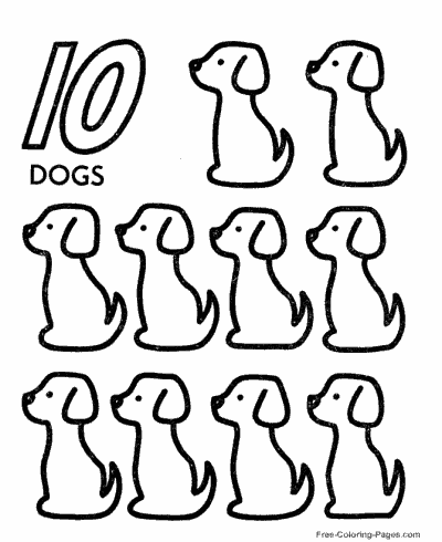 Preschool number worksheets for Count by number coloring pages