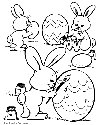 Easter Bunny In Dandelion Coloring Page Stock Vector ... | 490x400
